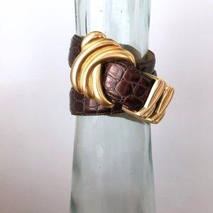 Vintage Leather Belt snakeskin embossed